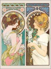 Autocolante decorativo  Primrose & Feather - Alfons Mucha