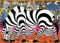 Autocolante decorativo Zebras on foraging
