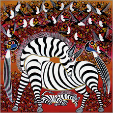 Autocolante decorativo  Zebra with a large flock of birds - Hassani