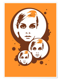 Póster Premium Twiggy Mathmos Orange