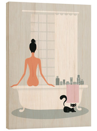Quadro de madeira  bathing kitty - Ping Lee