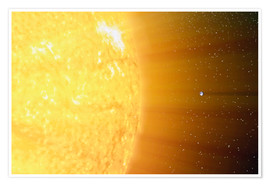 Póster Premium  The relative sizes of the Sun and the Earth