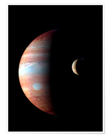 Póster Premium Jupiter and its volcanic moon Lo