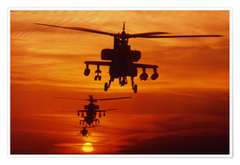 Póster Premium  AH-64 Apache anti-tank helicopters
