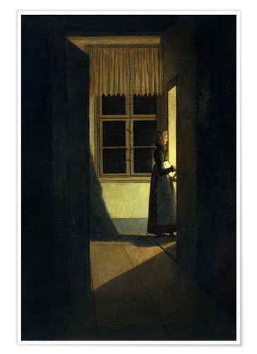 Póster Premium The Woman with the Candlestick