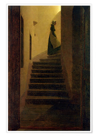 Póster Premium  Caroline on the stairs - Caspar David Friedrich