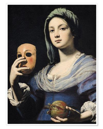 Póster Premium Woman with a Mask