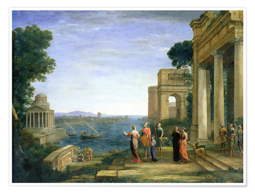 Póster Premium Aeneas and Dido in Carthage