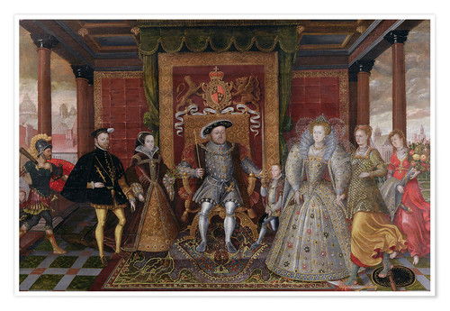 Póster Premium An Allegory of the Tudor Succession: The Family of Henry VIII