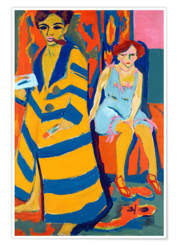 Póster Premium Ernst Ludwig Kirchner with a Model