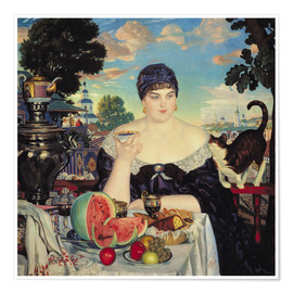 Póster Premium  The Merchant's Wife at Tea - Boris Mihajlovic Kustodiev