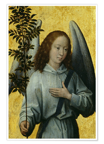 Póster Premium Angel Holding an Olive Branch