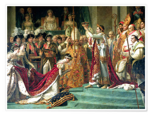 Póster Premium The Consecration of the Emperor Napoleon and the Coronation of the Empress Jose (detail)