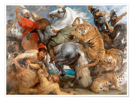 Póster Premium  The Tiger Hunt - Peter Paul Rubens