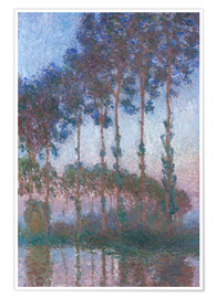 Póster Premium Poplars on the Banks of the Epte