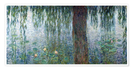 Póster Premium Waterlilies: Morning with Weeping Willows (detail)