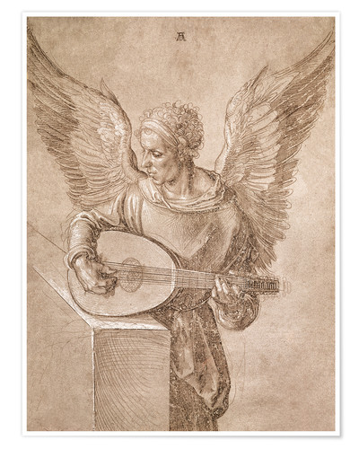 Póster Premium Angel playing a lute