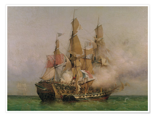 Póster Premium The Taking of the 'Kent' by Robert Surcouf