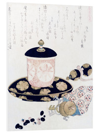 Quadro em PVC  A Pot of Tea and Keys - Katsushika Hokusai