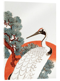 Quadro em acrílico  First sunrise of the New Year, with a crane in a pine tree - Utagawa Hiroshige