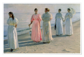 Póster Premium  Ladies on the beach - Michael Peter Ancher