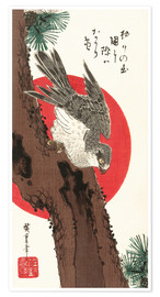 Póster Premium  Falcon, Pine, and New Year Sunrise - Utagawa Hiroshige