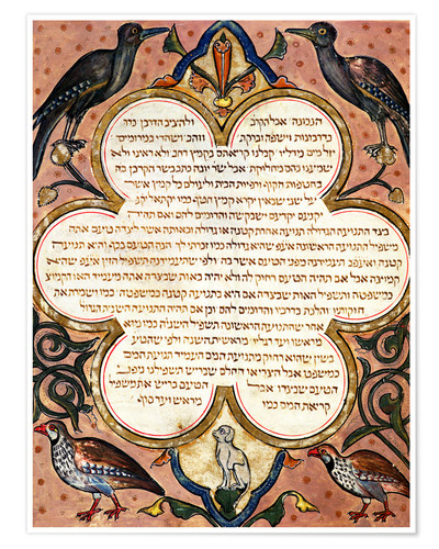 Póster Premium Page from a Hebrew Bible with birds