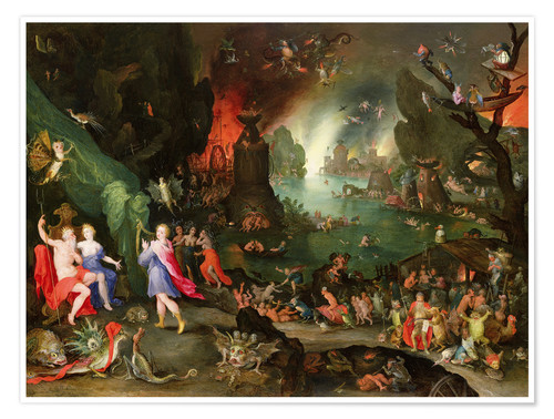 Póster Premium Orpheus with a Harp Playing to Pluto and Persephone in the Underworld
