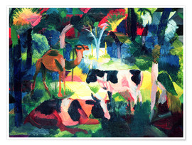 Póster Premium  Landscape with Cows and a Camel - August Macke