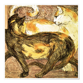 Póster Premium  Two cats - Franz Marc