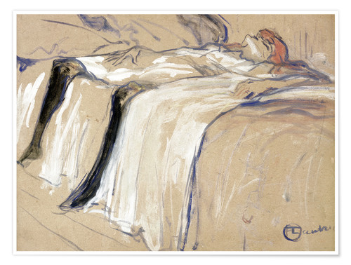 Póster Premium Woman lying on her Back - Lassitude