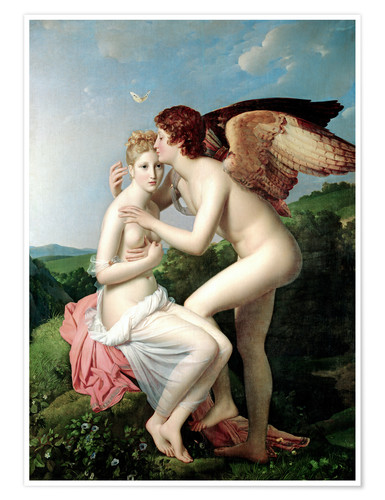 Póster Premium Psyche Receiving the First Kiss of Cupid