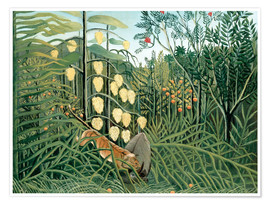 Póster Premium  Tiger attacks a buffalo - Henri Rousseau