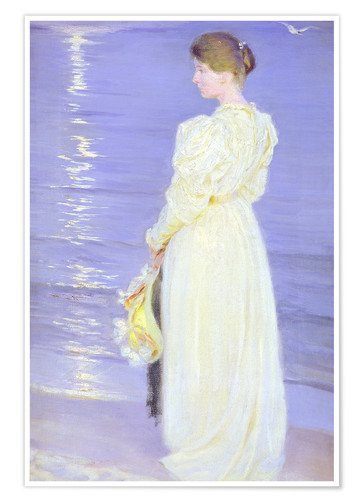 Póster Premium Woman in White on a Beach