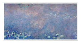 Póster Premium Waterlilies: Two Weeping Willows (detail)