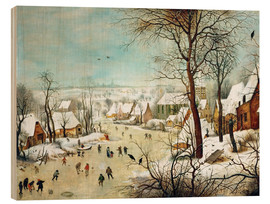 Quadro de madeira  Winter Landscape with a Bird Trap - Pieter Brueghel d.Ä.