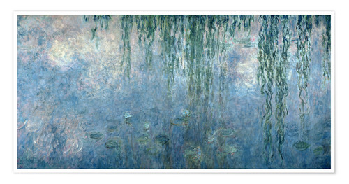 Póster Premium Waterlilies: Morning with Weeping Willows