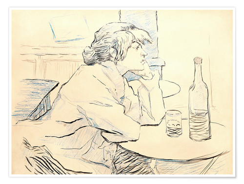 Póster Premium Suzanne Valadon sitting at table