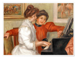 Póster Premium  Yvonne and Christine Lerolle at the piano - Pierre-Auguste Renoir