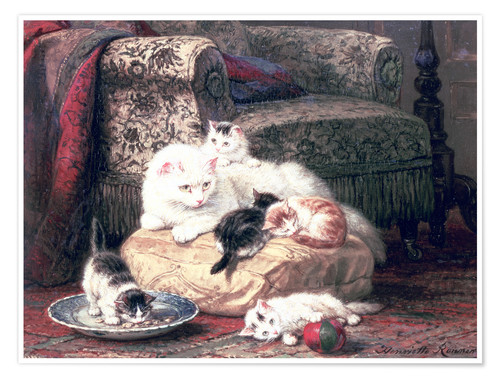 Póster Premium Cat with her Kittens on a Cushion
