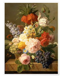 Póster Premium Still Life with Flowers and Fruit