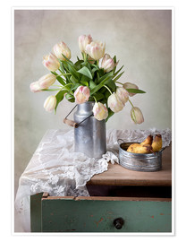 Póster Premium Still life with tulips