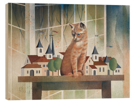 Quadro de madeira  View of the cat - Franz Heigl