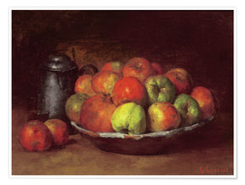 Póster Premium  Still Life with Apples and a Pomegranate - Gustave Courbet