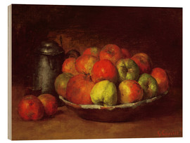 Quadro de madeira  Still Life with Apples and a Pomegranate - Gustave Courbet