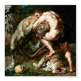 Póster Premium  Hercules Fighting the Nemean Lion - Peter Paul Rubens