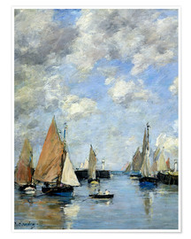 Póster Premium  The Jetty at High Tide - Eugène Boudin