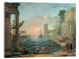 Quadro em acrílico  Seaport with the Embarkation of the Queen of Sheba - Claude Lorrain