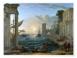 Póster Premium  Seaport with the Embarkation of the Queen of Sheba - Claude Lorrain