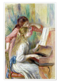 Póster Premium Young Girls at the Piano